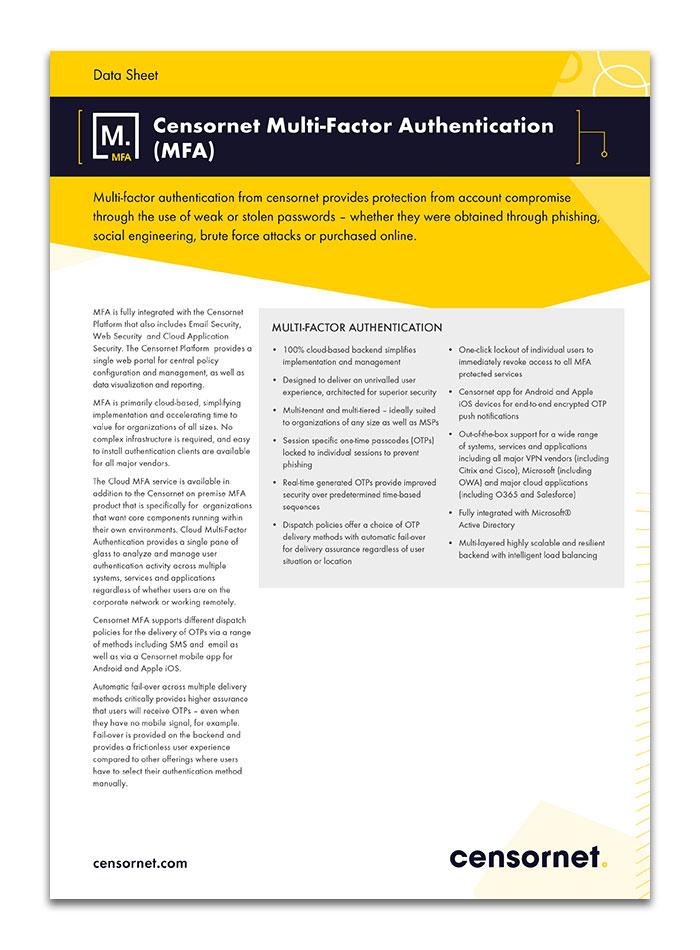 Censornet Multi-Factor Authentication MFA Data Sheet