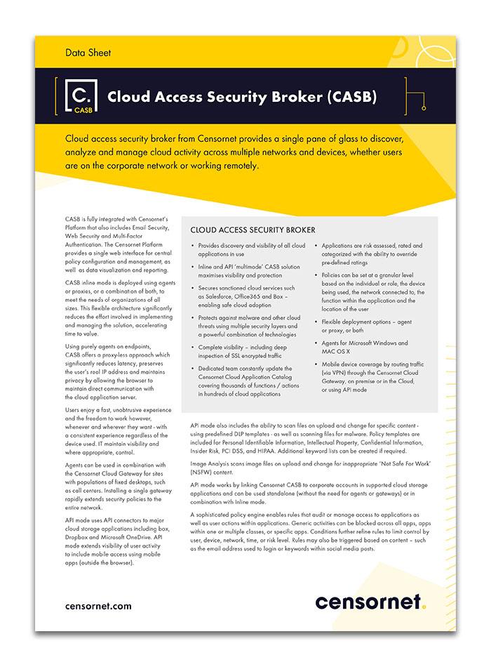 Cloud Access Security Broker CASB Data Sheet